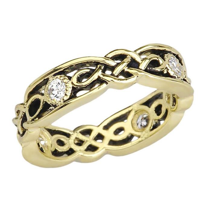 Black and Yellow Gold Diamond Vintage Celtic Wedding Band