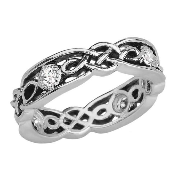 Black and White Gold Diamond Vintage Celtic Wedding Band