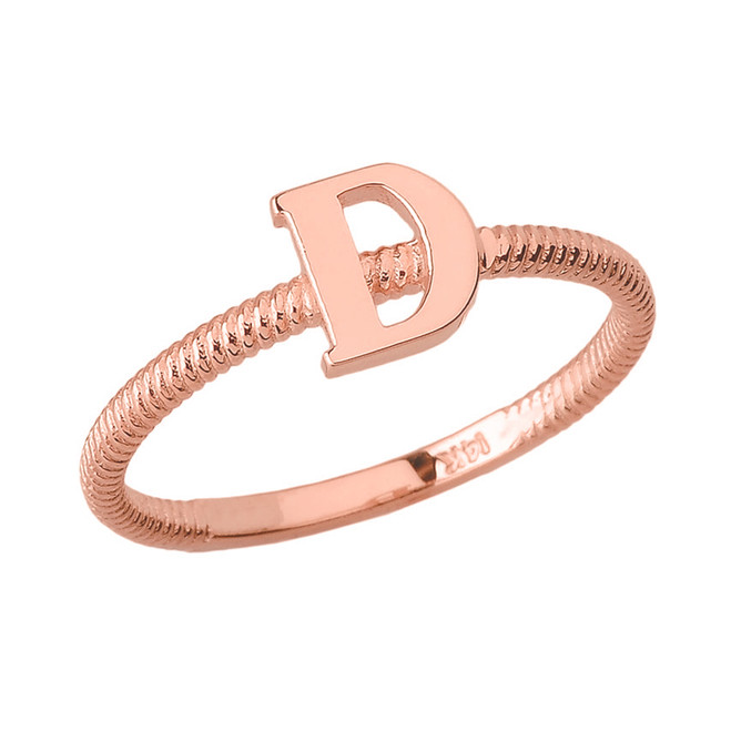 Solid Rose Gold Alphabet Initial Letter D Stackable Ring