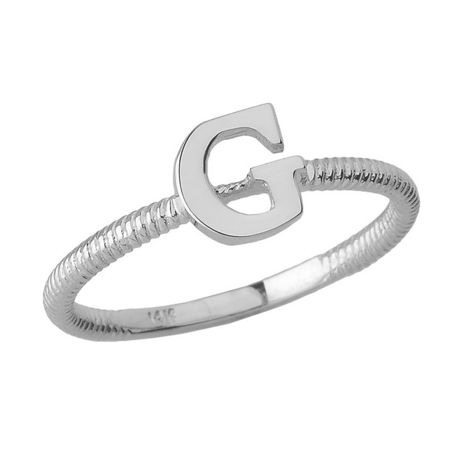 Solid White Gold Alphabet Initial Letter G Stackable Ring