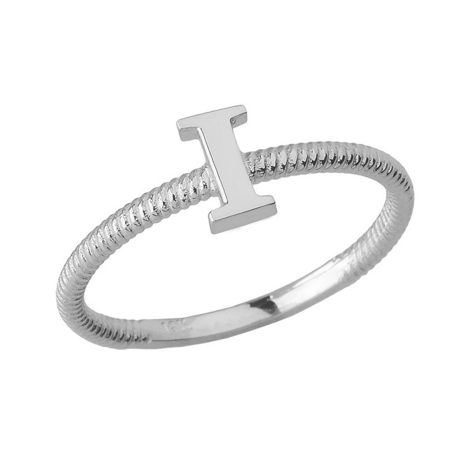 Solid White Gold Alphabet Initial Letter I Stackable Ring
