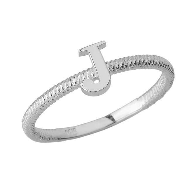 Solid White Gold Alphabet Initial Letter J Stackable Ring