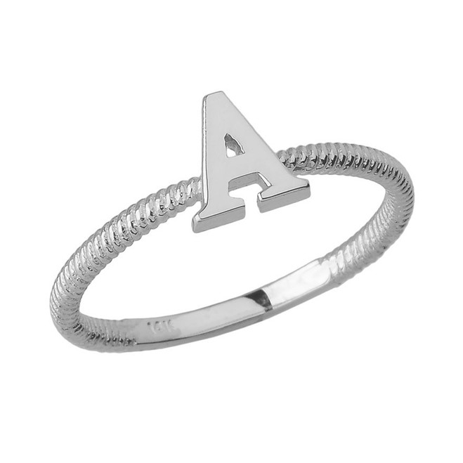 Sterling Silver Alphabet Initial Letter A  Stackable Ring