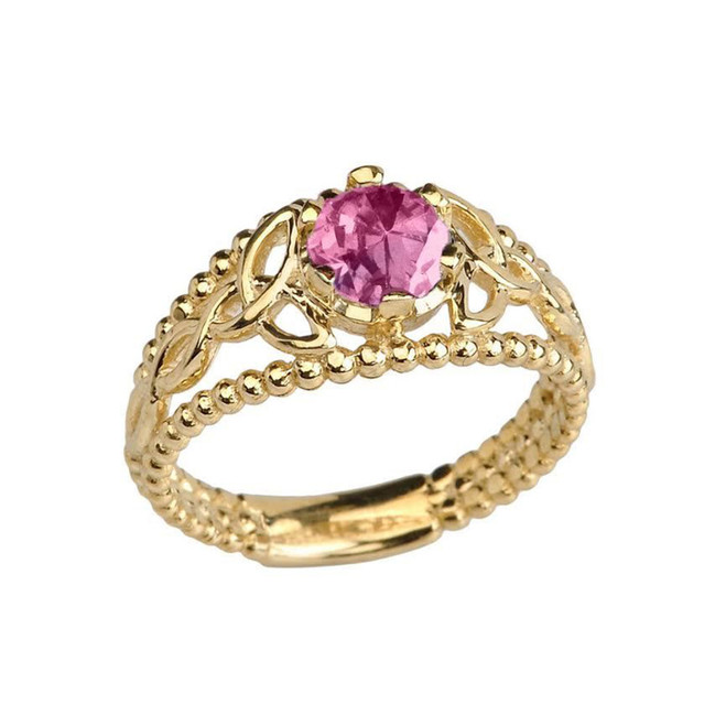 Yellow Gold Lab Created Alexandrite Beaded Celtic Trinity Knot Engagement/Promise Ring