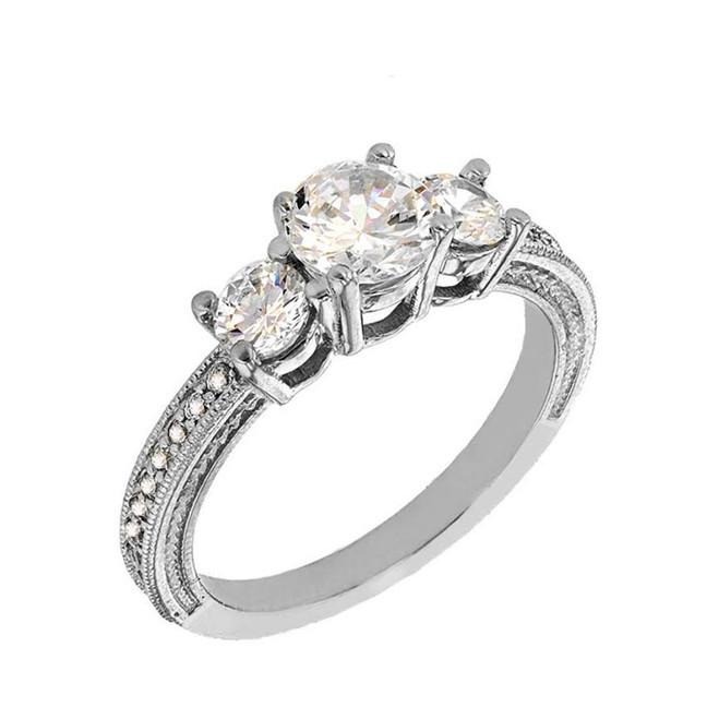 White Gold Diamond Very Elegant Engagement/Promise Ring