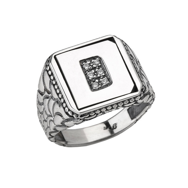 """Sterling Silver Men's Initial """"D"""" Ring"""