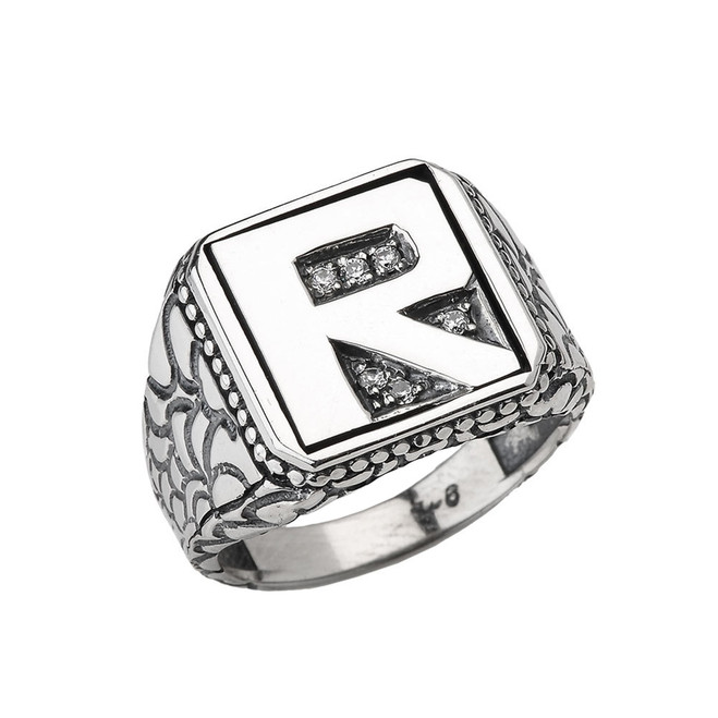 """Sterling Silver Men's Initial """"R"""" Ring"""