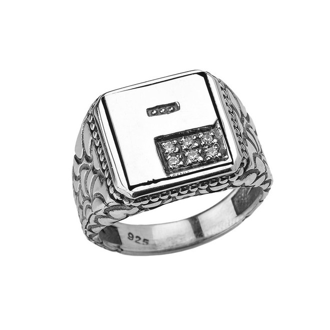 """Sterling Silver Men's Initial """"P"""" Ring"""