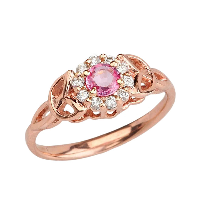 Rose Gold Pink Sapphire and Diamond Engagement/Promise Ring