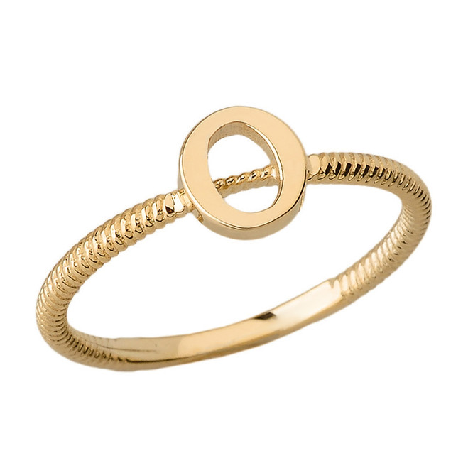 Solid Yellow Gold Alphabet Initial Letter O Stackable Ring