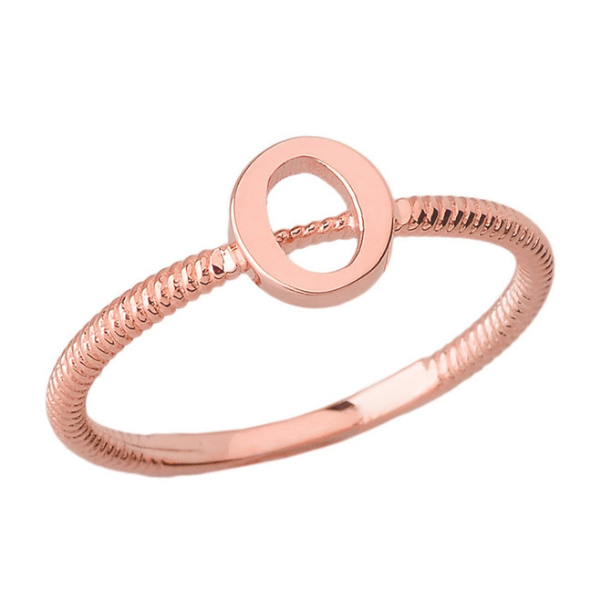 Solid Rose Gold Alphabet Initial Letter O Stackable Ring