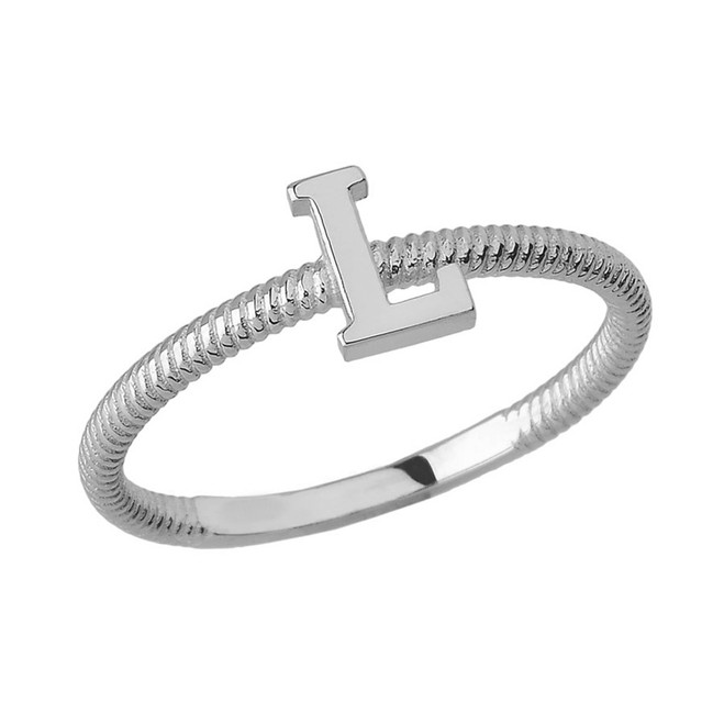 Solid White Gold Alphabet Initial Letter L Stackable Ring