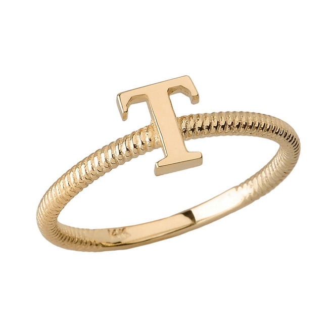 Solid Yellow Gold Alphabet Initial Letter T Stackable Ring