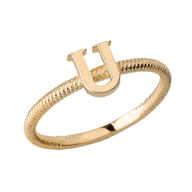 Solid Yellow Gold Alphabet Initial Letter U Stackable Ring
