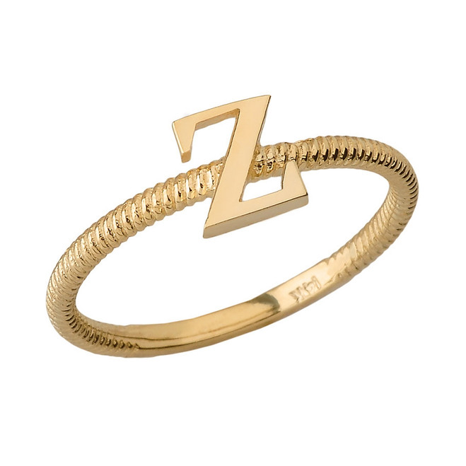 Solid Yellow Gold Alphabet Initial Letter Z Stackable Ring