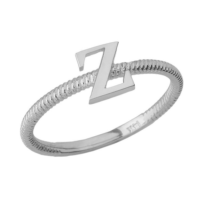 Solid White Gold Alphabet Initial Letter Z Stackable Ring