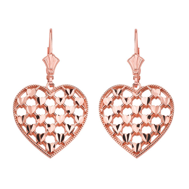 14K Solid Rose Gold Double Layered Woven Hearts Filigree Heart Shaped Drop Earring Set
