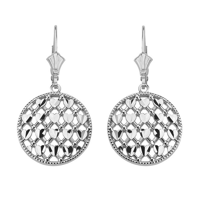 14K Solid White Gold Double Layered Woven Hearts Filigree Circular Drop Earring Set