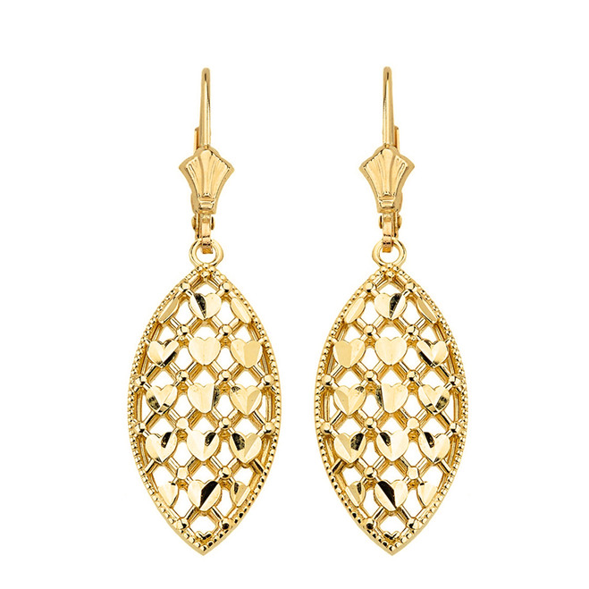 Solid Yellow Gold Double Layered Woven Hearts Filigree Marquise Shape Drop Earring Set