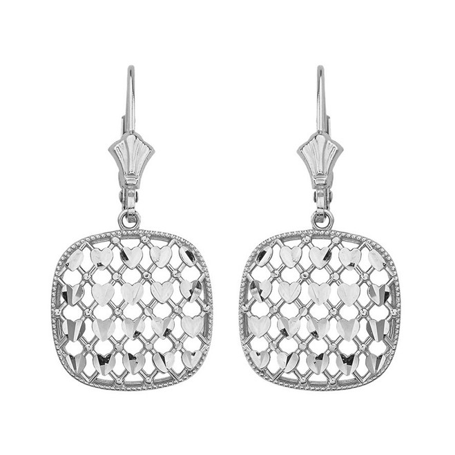 14K Solid White Gold Double Layered Woven Hearts Filigree Squared Shape  Drop Earring Set