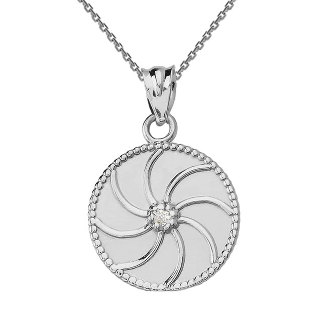 Sterling Silver Armenian Diamond Eternity Pendant Necklace