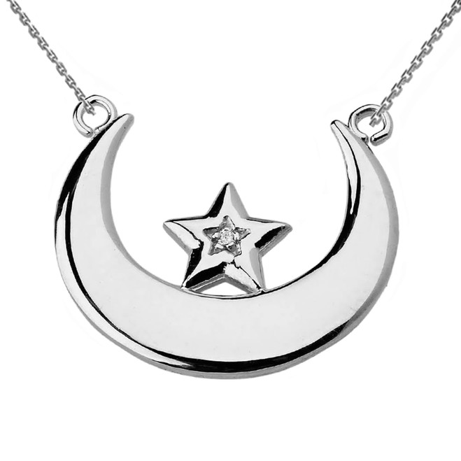 White Gold Moon and Diamond Star Necklace