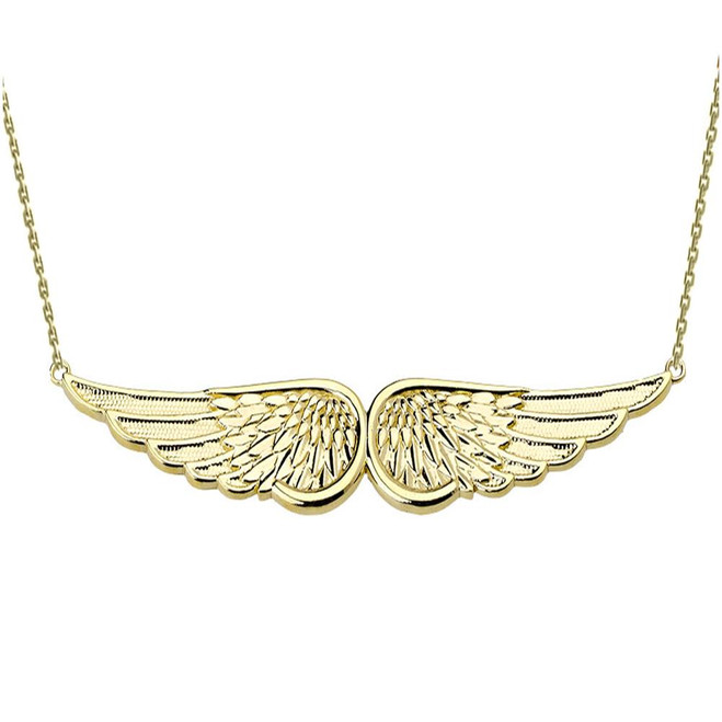 Yellow Gold Angel Wings Necklace