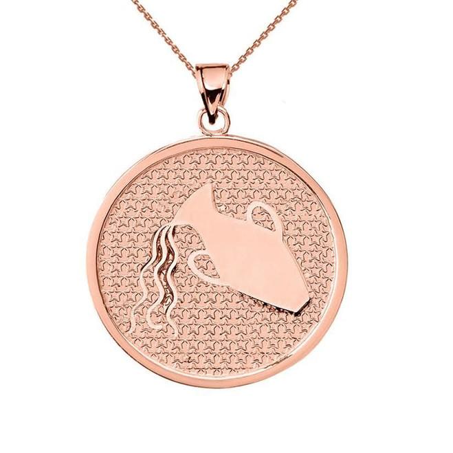 Rose Gold Aquarius Zodiac Disc Pendant Necklace