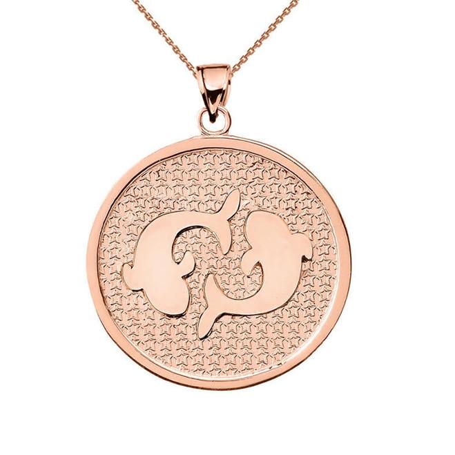 Rose Gold Pisces Zodiac Disc Pendant Necklace