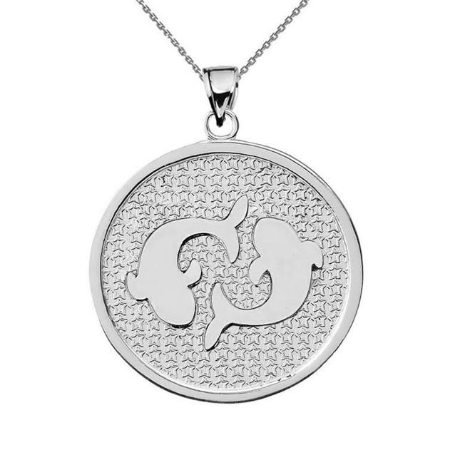White Gold Pisces Zodiac Disc Pendant Necklace