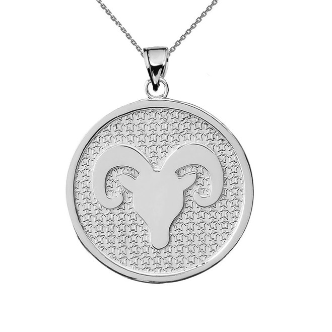 White Gold Aries Zodiac Disc Pendant Necklace