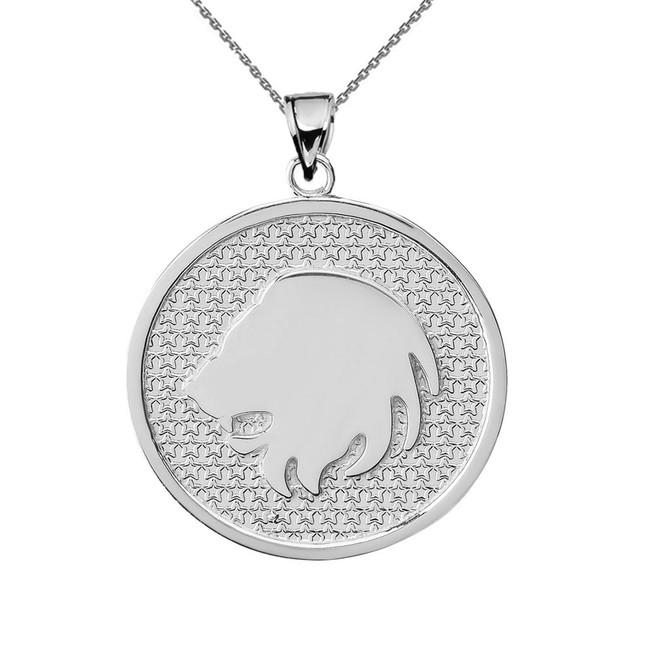 White Gold Leo Zodiac Disc Pendant Necklace