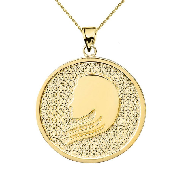 Yellow Gold Virgo Zodiac Disc Pendant Necklace