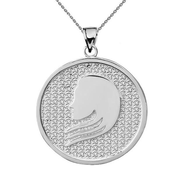 White Gold Virgo Zodiac Disc Pendant Necklace