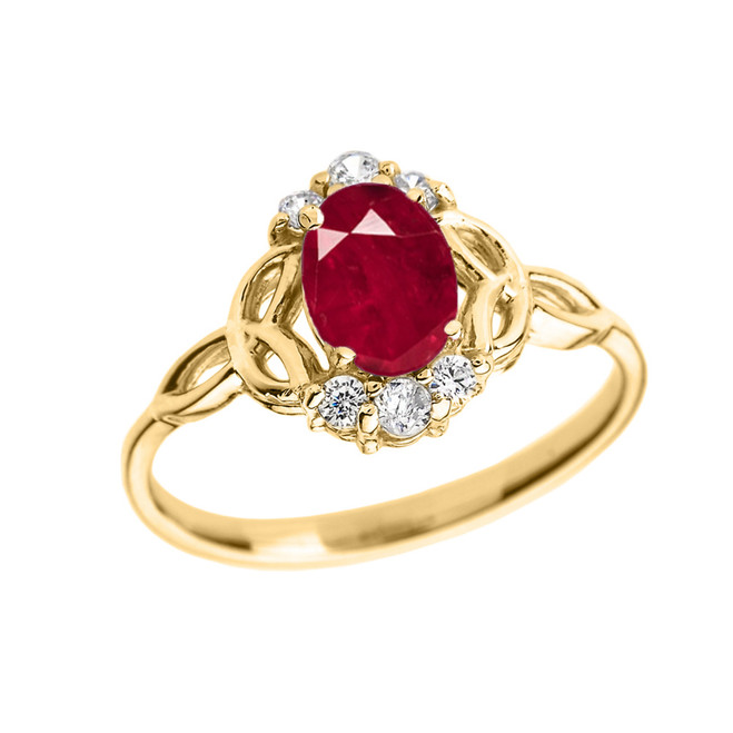 Yellow Gold Genuine Ruby and Diamond Trinity Knot Proposal Ring