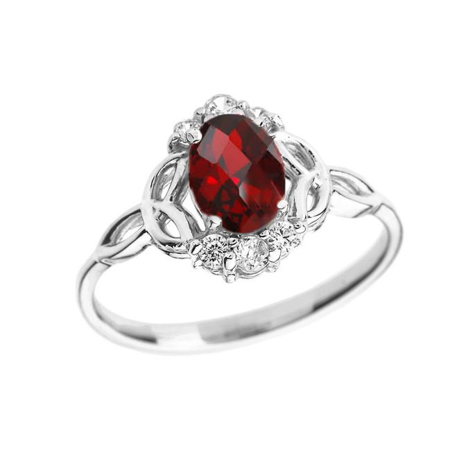 White Gold Genuine Garnet and Diamond Trinity Knot Proposal Ring