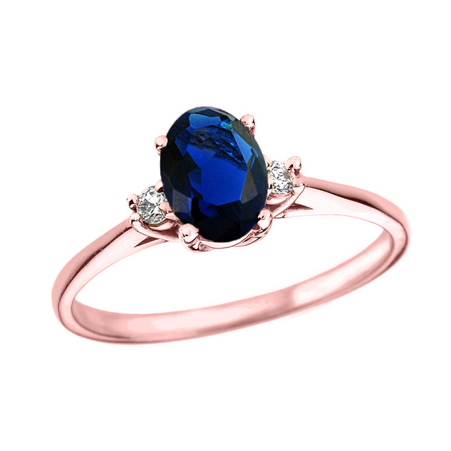 Rose Gold Oval Sapphire and Diamond Engagement Proposal Ring