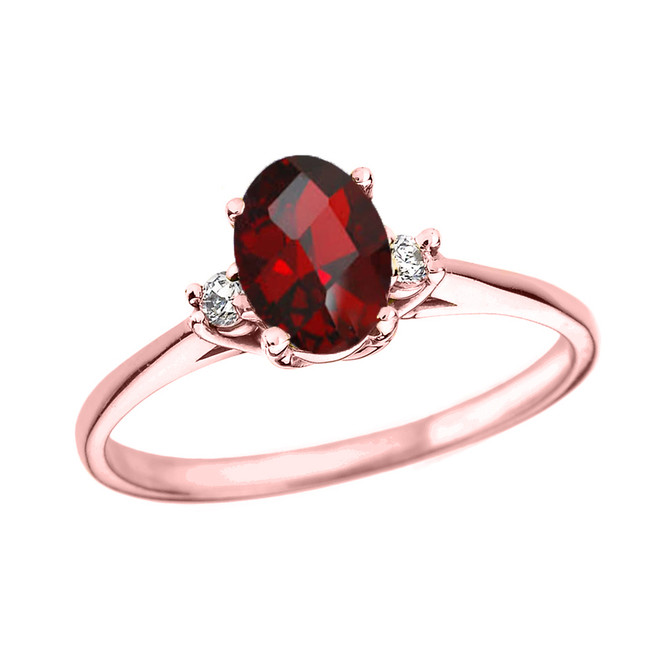 Rose Gold Oval Genuine Garnet and Diamond Engagement Proposal Ring