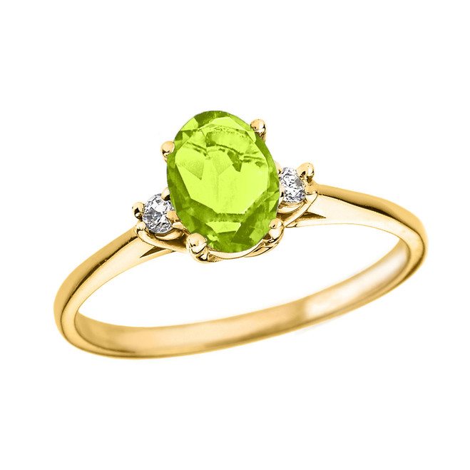 Yellow Gold Oval Genuine Peridot and Diamond Engagement Proposal Ring