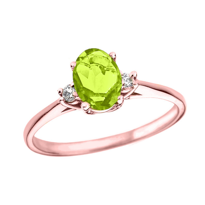 Rose Gold Oval Genuine Peridot and Diamond Engagement Proposal Ring