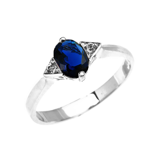 White Gold Solitaire Oval Genuine Sapphire and White Topaz Engagement/Promise Ring