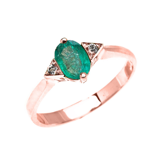 Rose Gold Solitaire Oval Genuine Emerald and White Topaz Engagement/Promise Ring