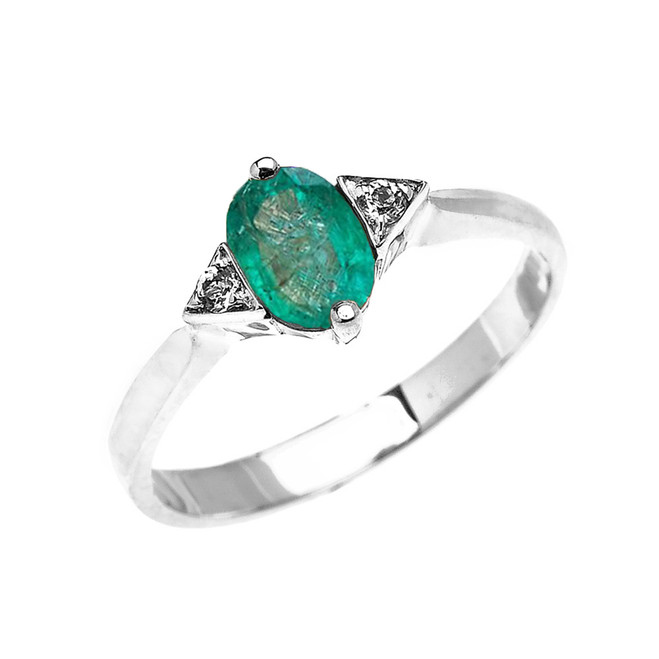 White Gold Solitaire Oval Genuine Emerald and White Topaz Engagement/Promise Ring