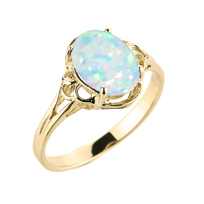 Yellow Gold Stimulated Opal Gemstone Ring