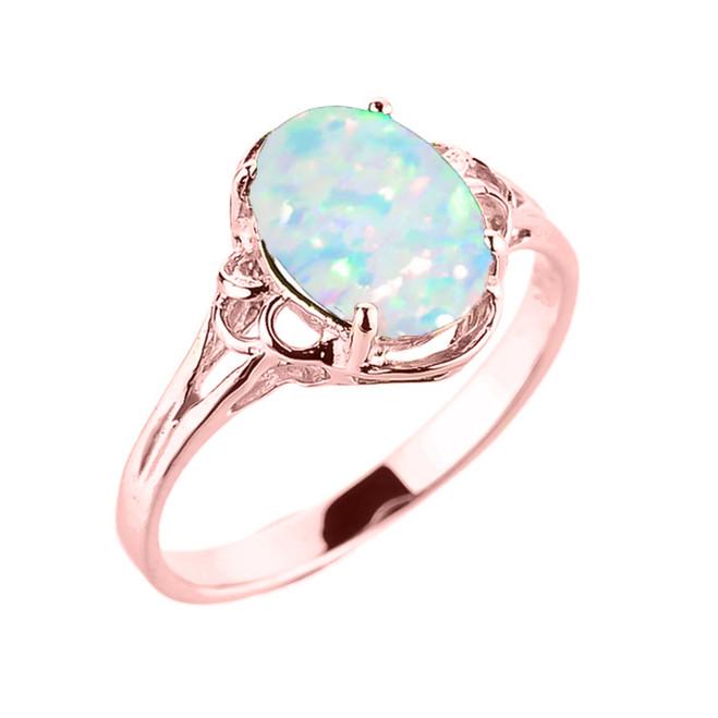 Rose Gold Simulated Opal Gemstone Ring