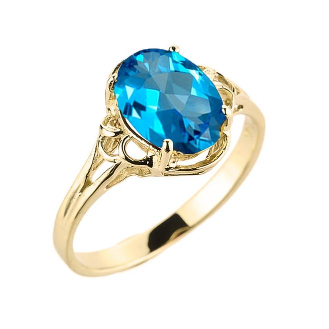 Yellow Gold Genuine Blue Topaz Gemstone Ring