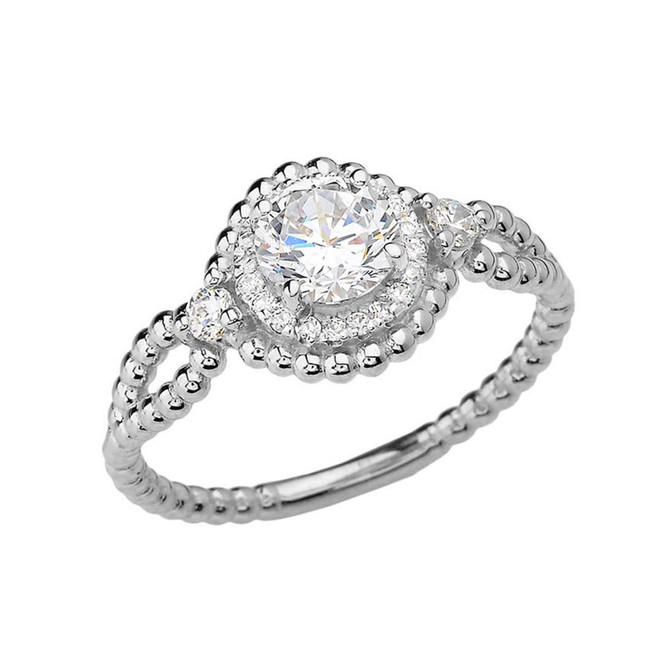 White Gold Rope Double Infinity White Topaz  Engagement Ring