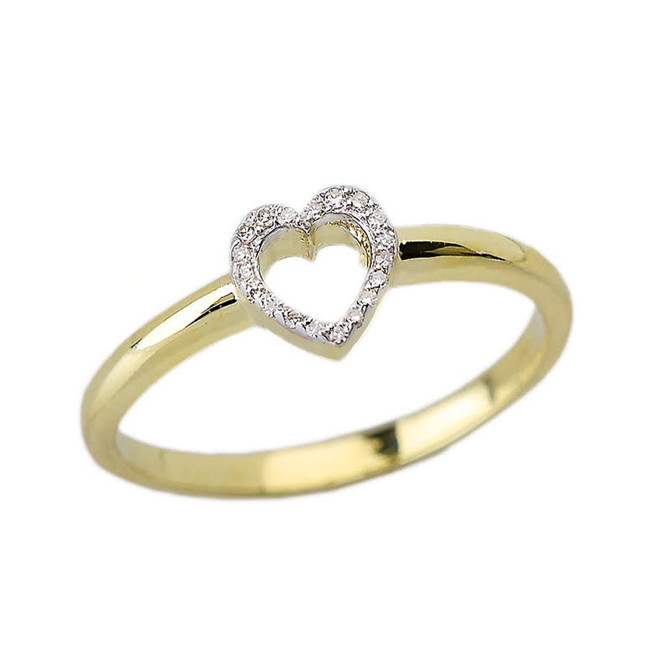 Yellow Gold Dainty Diamond Heart Ring