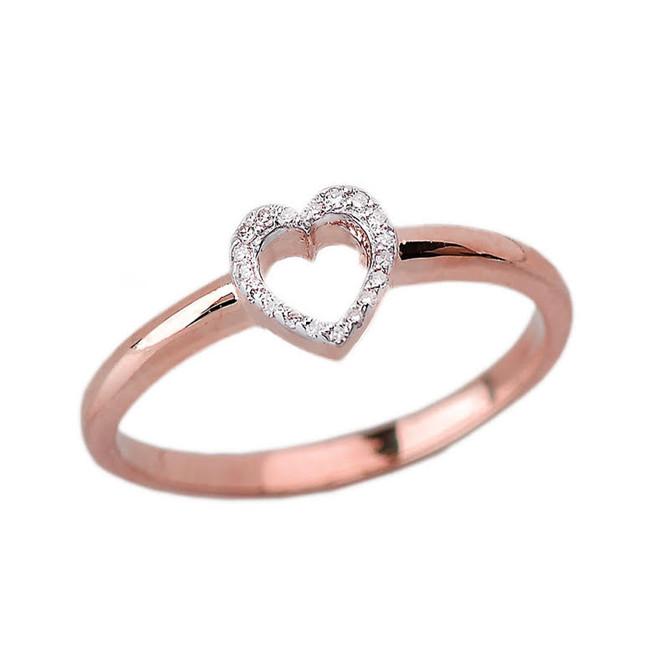 Rose Gold Dainty Diamond Heart Ring