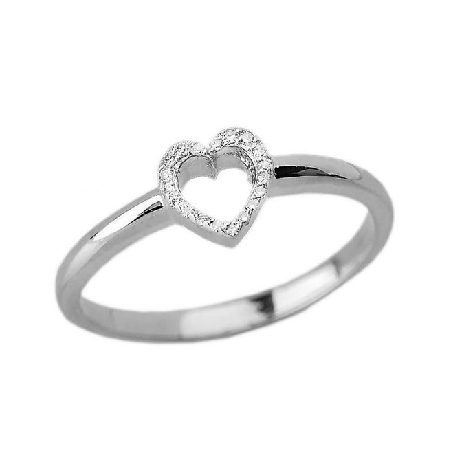 White Gold Dainty Diamond Heart Ring